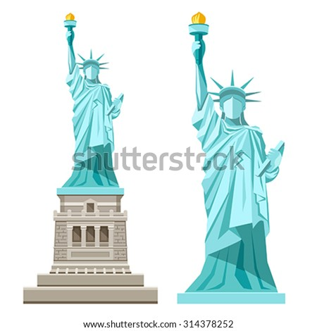 Vector statue of Liberty design on a white background, illustrations - stock vector