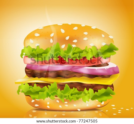 Vector steaming cheeseburger on a yellow background - stock vector