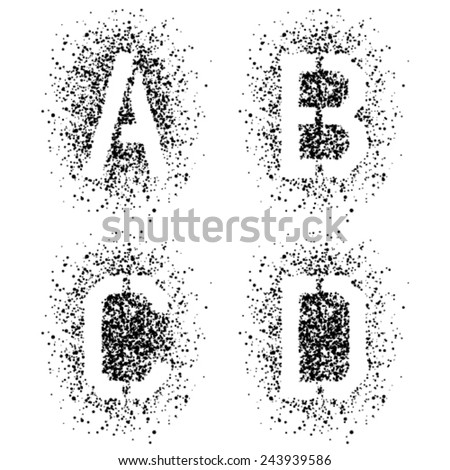 vector stencil angular spray font letters A B C D - stock vector
