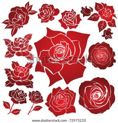 Vector Stencil Roses - stock vector