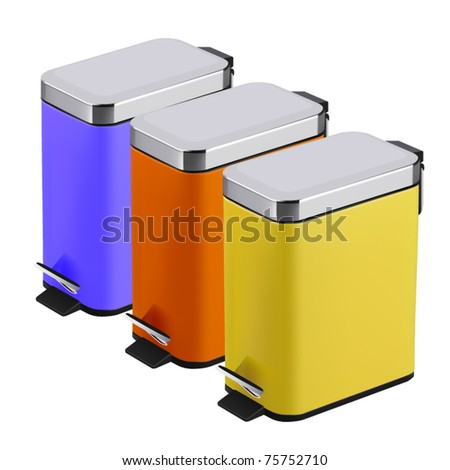 vector step trash cans - stock vector