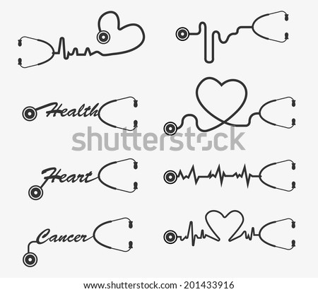 Vector stethoscope icons design - stock vector