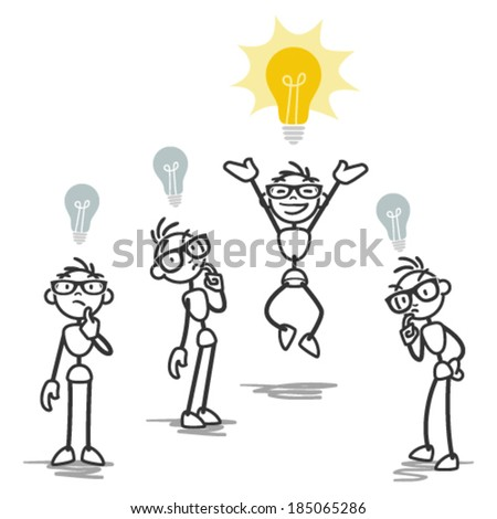 Vector stick figure illustration: One stick man having bright idea while others don't. - stock vector