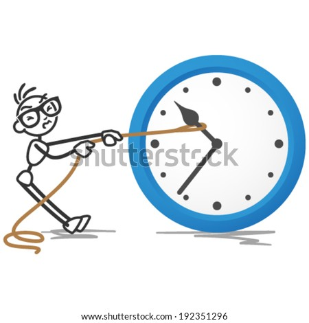 Vector stick figure illustration: Stickman trying to turn back time by pulling on a rope attached to the hands of a clock. - stock vector