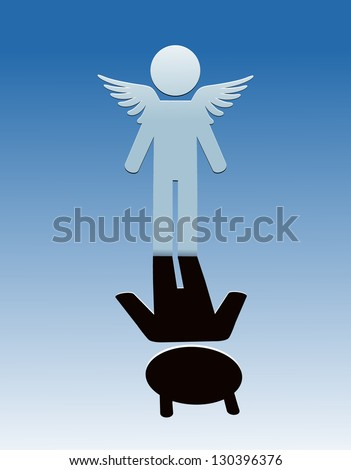 Vector sticker angel and devil. - stock vector