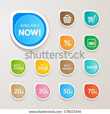 Vector Sticker colorful set - stock vector