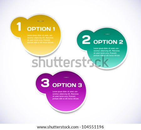Vector sticker for text. Paper Progress background / product choice or versions. - stock vector