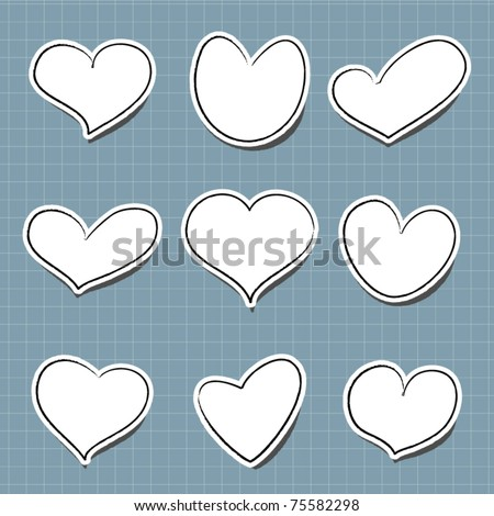 vector sticker in heart shape for text - stock vector
