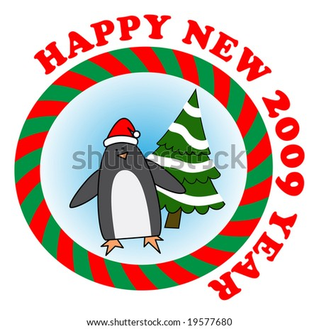 Vector sticker: Penguin in red Santa hat wishes to all happy new year - stock vector