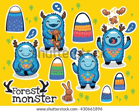 Vector sticker set with cute monsters and bright imaginary characters design elements. Emotions monsters. - stock vector