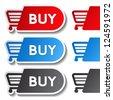 Vector sticker, shopping cart, trolley, item, button - stock vector