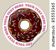 Vector sticker with donut. Place for your text. - stock vector