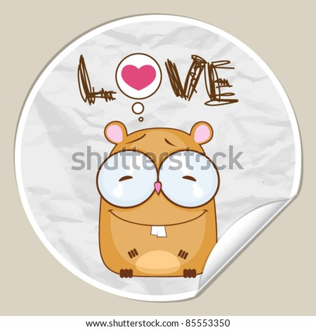 Vector sticker with hamster. Place for your text. - stock vector