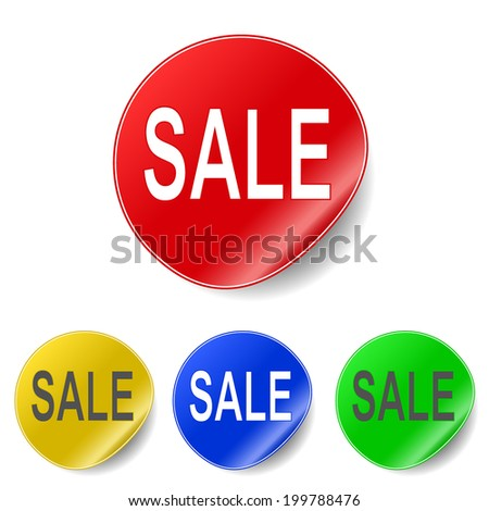 Vector sticker with sale message - stock vector