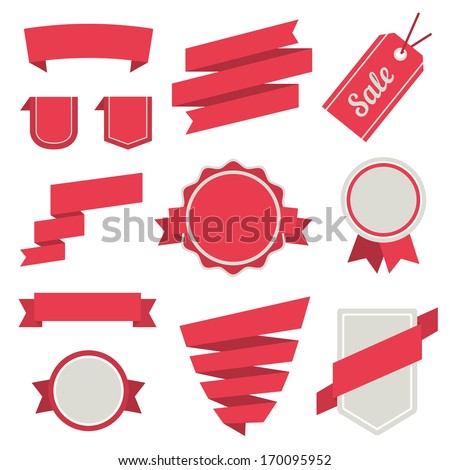 Vector Stickers and Badges Set 3. Flat Style. - stock vector
