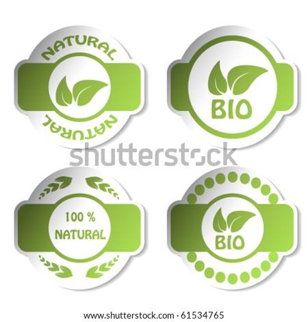 Vector stickers - bio, natural - stock vector