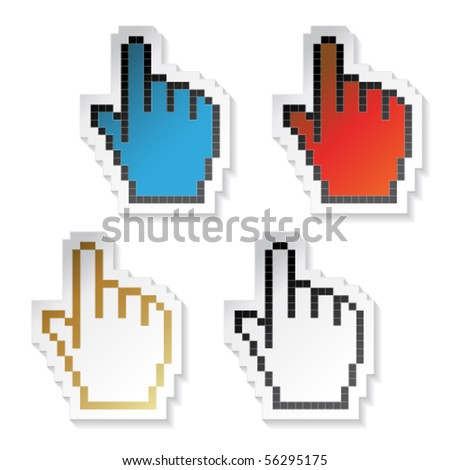 Vector stickers cursors of hand