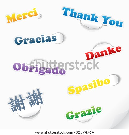 Vector Stickers In Several Languages - stock vector