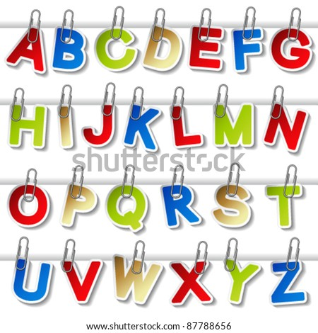 Vector stickers of alphabet with paperclip - own font - stock vector