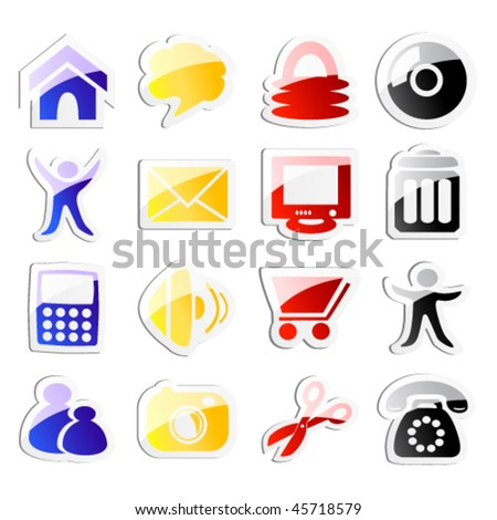 Vector stickers of web icons