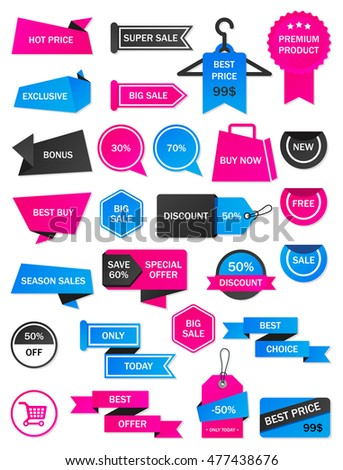 Vector Stickers Price Tag Banner Label Stock Vector 459889741