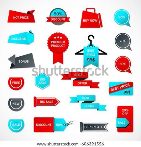 Vector Stickers Price Tag Banner Label Stock Vector 612450731