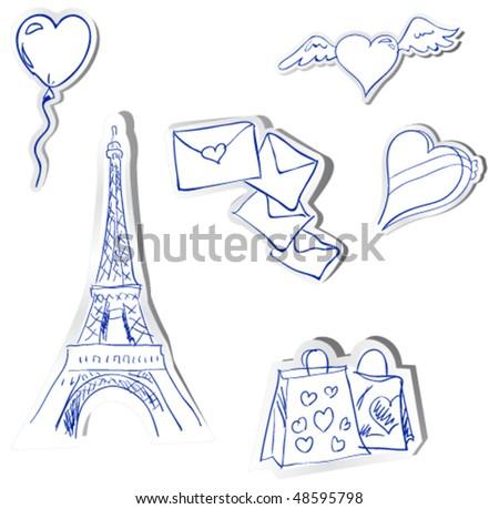 vector stickers. Romantics theme - stock vector