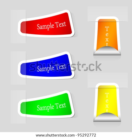 Vector stickers set with place for your text. Eps 10 - stock vector