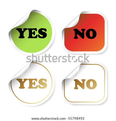 Vector stickers with curled corner - yes and no - stock vector