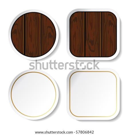 Vector stickers - wood and blank - stock vector