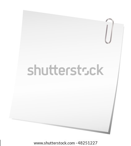 Vector sticky note with paper clip - stock vector