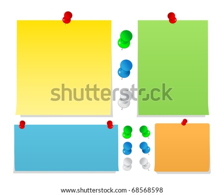 Vector Sticky Notes with Pushpins - stock vector