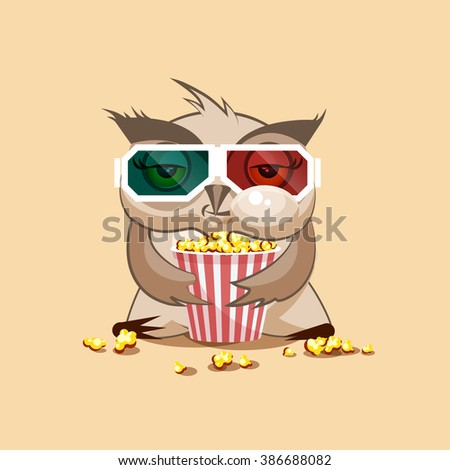 Vector Stock Illustration Emoji character cartoon owl chewing popcorn, watching movie in 3D glasses sticker emoticon for site, infographic, video, animation, website, e-mail, newsletter, report, comic - stock vector