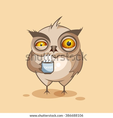 Vector Stock Illustration isolated Emoji character cartoon owl nervous with cup of coffee sticker emoticon for site, infographics, video, animation, websites, e-mails, newsletters, reports, comics - stock vector
