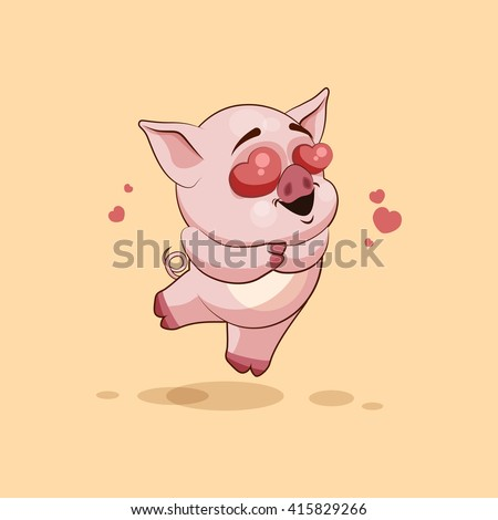 Vector Stock Illustration isolated Emoji character cartoon Pig in love flying with hearts sticker emoticon for site, infographics, video, animation, websites, e-mails, newsletters, reports, comics - stock vector