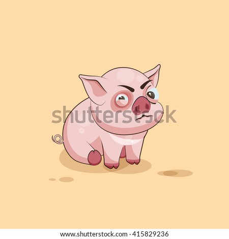 Vector Stock Illustration isolated Emoji character cartoon Pig squints and looks suspiciously sticker emoticon for site, infographics, video, animation, websites, e-mails, newsletters, reports, comics - stock vector