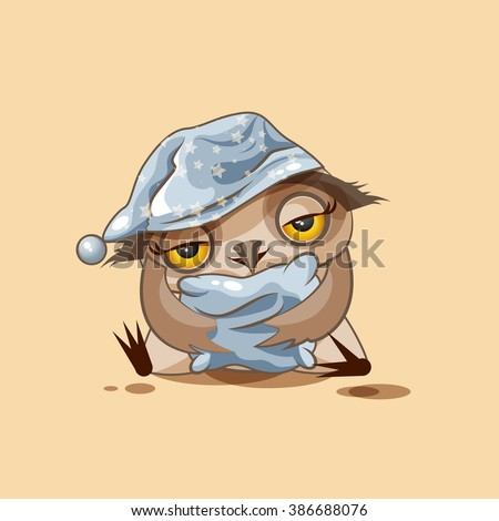 Vector Stock Illustration isolated Emoji character cartoon sleepy owl in nightcap with pillow sticker emoticon for site, infographics, video, animation, websites, e-mails, newsletters, reports, comics - stock vector