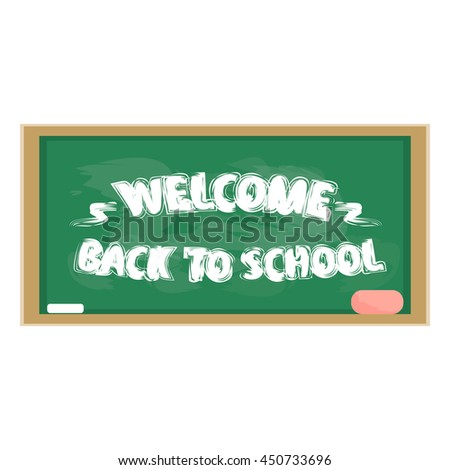 Vector stock illustration of a blackboard green chalk to label. Welcome back to school - stock vector