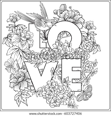 Vector Stock Illustration With Japanese Peony And Wild Roses Bird Butterfly Word Love