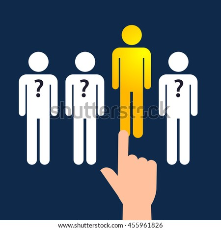 Vector stock of hand choosing the best people from the line - stock vector