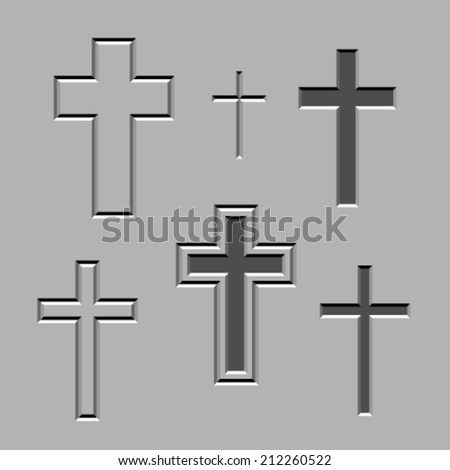 vector stone carved christian crosses - stock vector