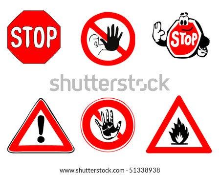 vector - stop and warning sign selection
