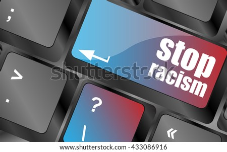 Vector stop racism concept by keyboard keys, keyboard button, keyboard icon - stock vector