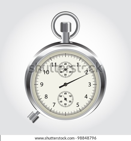 Vector stop watch in high detail. Stop watch isolated on a white background