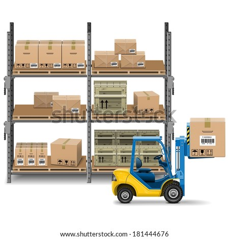 Vector Storage with Forklift - stock vector