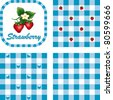vector - Strawberries & Gingham Seamless Patterns in 3 designs. EPS8 file has 3 check pattern swatches (tiles) that will seamlessly fill any shape. - stock vector