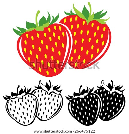 Vector strawberries in color and black and white - stock vector
