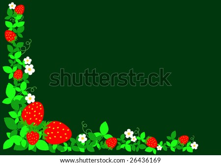 vector strawberries with sheets on dark green background
