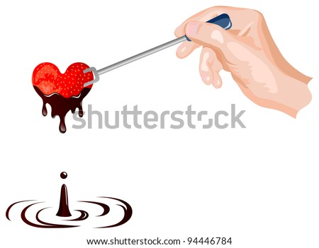 Vector strawberry and chocolate fondue in the shape of heart - stock vector