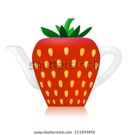 Vector Strawberry ceramic Teapot  - stock vector